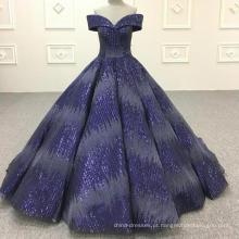 Vestido de baile azul royal vestido de casamento muçulmano 2018