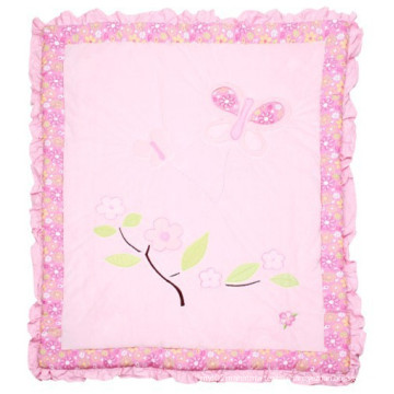 Velvet Patchwork Quilt in Pink Flower Super Sweet for Baby Girl Made in China