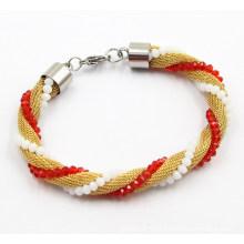 Moda malha de jóias de aço inoxidável pulseira para meninas