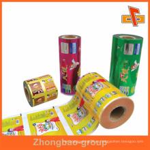 Bolsa de embalaje de alimentos laminados a medida en rollos con impresión de huecograbado