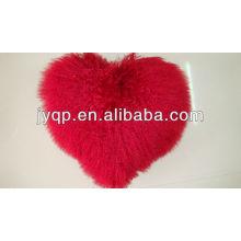Tibetanisches mongolisches Großhandelslamm-Pelz-Herz-geformtes Kissen