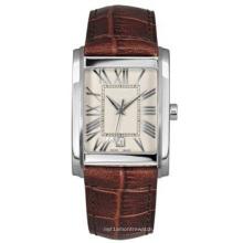 Reloj con correa de cuero unisex, funda de cuero genuina de becerro 316ss, hebilla de acero fino