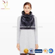 Pañuelo de punto con bufanda de piel sintética de señora bufanda