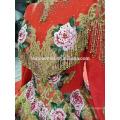 2018 novo design de estilo Chinês vestido de noiva frente fábrica de fornecimento curto longo de volta bordado luxo cor vermelha vestido de noiva