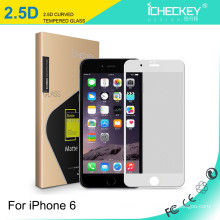 Icheckey 2.5D silk-printing full cover tempered glass film for iPhone6