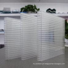 Material 100% do Virgin da folha 4-Wall da folha de Multiwall do policarbonato, 50 micro UV 10 anos de garantia