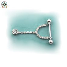 smooth steel piercing Nipple Barbell glaring gem dangle pendant