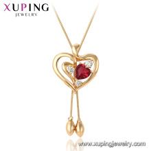 44980 Xuping 18k vergoldet Rubin Herzform Edelstein Mode Anhänger Halskette