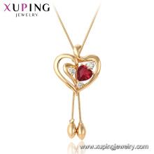 44980 Xuping 18 k banhado a ouro rubi coração forma gemstone moda pingente de colar