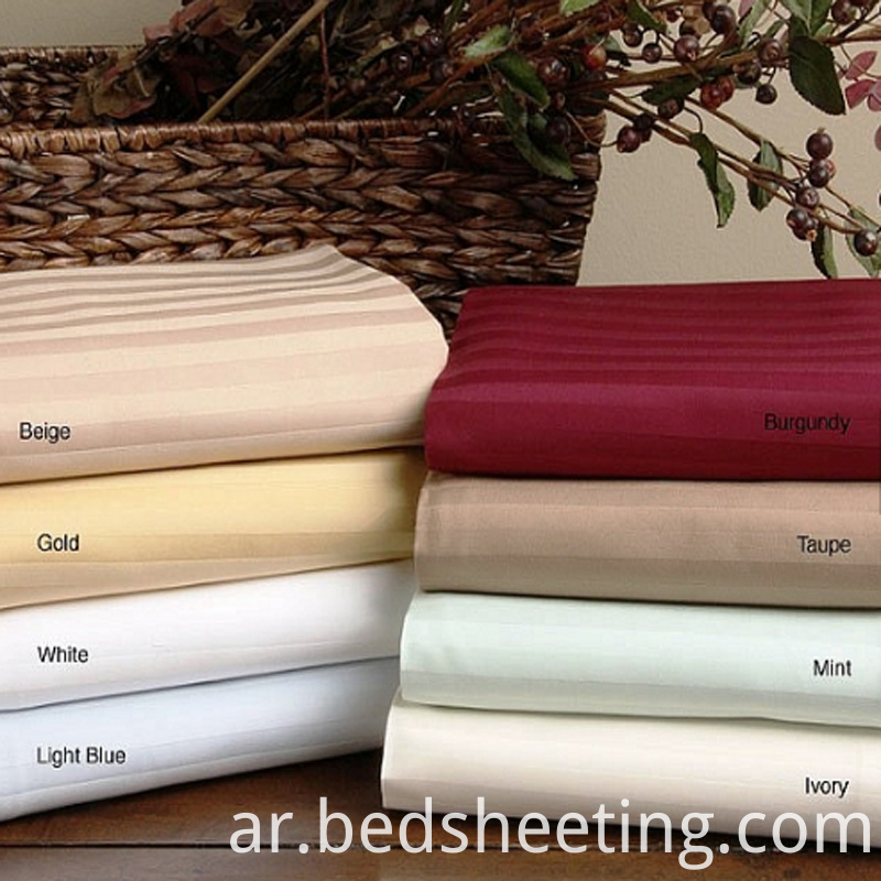 Solid Dyed Cvc Sateen Stripe Fabric