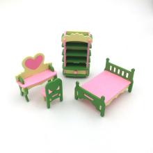 Divertidos mini juguetes de madera interesantes muebles de casa de muñecas en miniatura