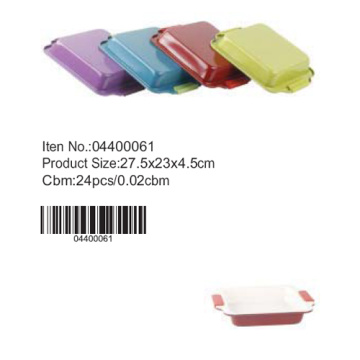 Colorful square pan with silicone handle