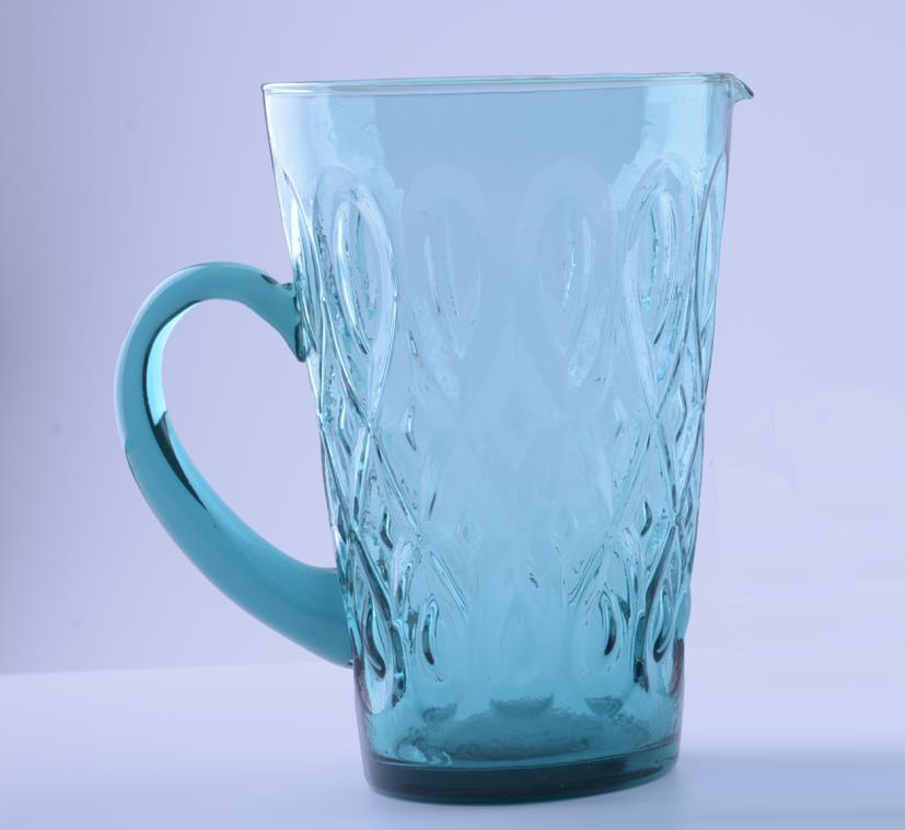blue glass pithcer