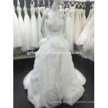 High Quality Sheer Shoulder Empire Ruffle Tiered Skirt Ball Gowns Beading Button Back Organza Wedding Dress Sweetheart 15030-2