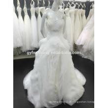 De alta qualidade Sheer Shoulder Império Ruffle Tiered saia vestidos de baile Beading Button Back Organza vestido de casamento Sweetheart 15030-2
