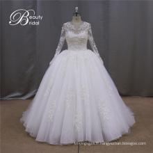 Robes de mariée cristal boule manches longues paillettes robe de mariée