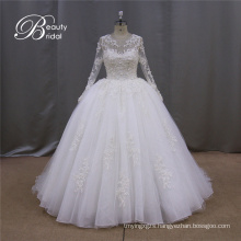 Crystal Bridal Ball Gowns Long Sleeves Sequins Wedding Dress