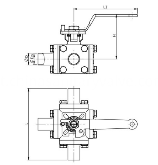 DIN Sanitary ball valve full bore 3 way welded