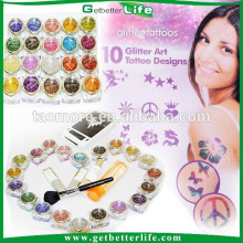 Getbetterlife Hot Sale Glitter tattoo 20Colors 30 Stencils Sparkle Tattoo Kit