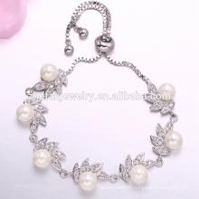 Charmant bracelet de tennis pour femmes réglable en laiton blanc zircon avec perle pour les filles