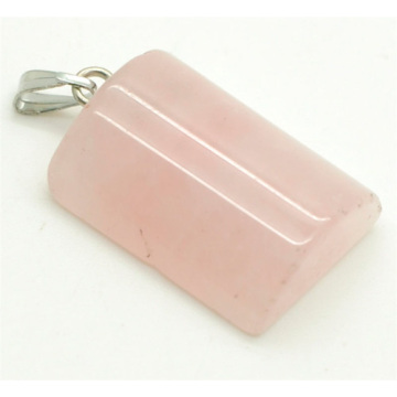 Semi Cylinder Shape Rose Quartz pendant