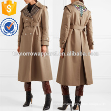 Appliqued Cotton-blend Gabardine Trench Coat Manufacture Wholesale Fashion Women Apparel (TA3019C)