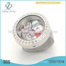 Neue Art und Weise 25mm silberner Kristallgedächtnis schwimmender Glascharme locket hängende Ringschmucksachen