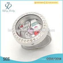 Nouvelle mode 25mm cristal argenté flottant en verre charmes locket pendentif bijoux bijoux
