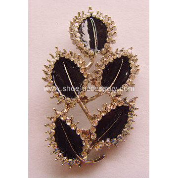 Fashion Leaves Alloy Shoe Buckles with Rhinestone