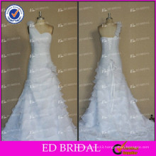 ED Real Photos One Shoulder Flower Pleating Lace Up Heavy Ruffle Organza Wedding Dresses 2017