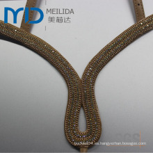 Moda cuero Sandal Uppers con correas y diamantes decorativos trim