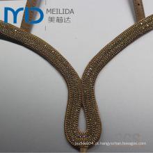 Moda couro sandália Uppers com alças e diamante decorativas