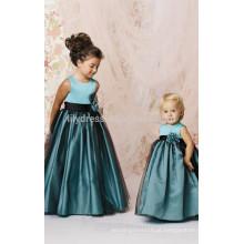 A-Line Scalloped Zipper Back Sem mangas Custom Flower Girl Dress FGZ10 Vestido de noiva azul-bebê
