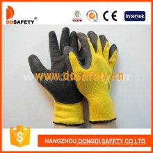 Algodón / Poliéster Liner Crinkle guantes de látex (DKL328)