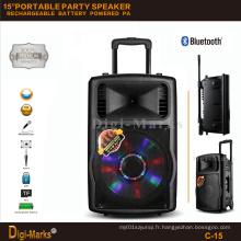 Guangzhou Prix du fabricant Batterie stéréo Bluetooth multifonctionnel Haut-parleur Active Trolley
