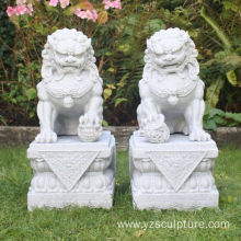 Chinese Marble Foo Dog Statue For Sale