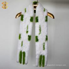 Marca de moda Mulheres Inverno Pele quente Tricô Coelho Malha de malha de pele real