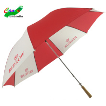 60'' manual open wooden straight handle red and white  standard golf umbrella
