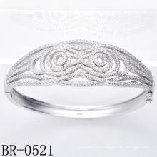 El micr3ofono de plata de la manera pavimenta las pulseras Br-0521 de la joyería del ajuste de la CZ)