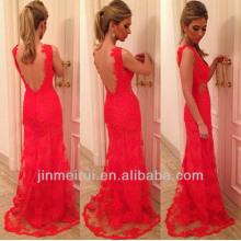 Best Selling See Through Nude Back Red Lace Evening Dresses 2014 Nova chegada vestido de festa longa