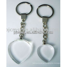 Llavero cristalino de la forma del corazón con el logotipo personalizado para los regalos de los clientes de la compañía llavero cristalino del cobertizo