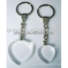 Chaveiro de cristal da forma do coração com logotipo personalizado para presentes dos clientes da empresa. Keychain de cristal aberto