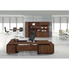 Mobilier de bureau exécutif en bois en placage de teck moderne (HF-TWB116)
