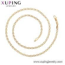 45011 xuping 18k chapado en oro estilo de moda simple Sin collar de cadena de piedra