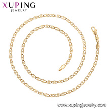 45011 xuping banhado a ouro 18k simples estilo de moda sem colar de corrente de pedra