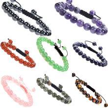 Joyería de piedras preciosas de poder curativo natural, pulseras de cristal, hebras, cuentas, unisex, ajustable, macramé, 8 mm