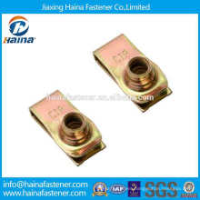 high quality Yellow zinc plated spring steel square lock cage nut,cage nut