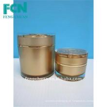 Jarra de cosméticos de acrílico com tampa de ouro 50ml embalagem de cosméticos redondos high end