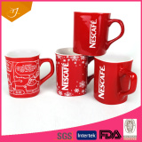 Hot sale 8oz Red Nescafe Ceramic Coffee Mug