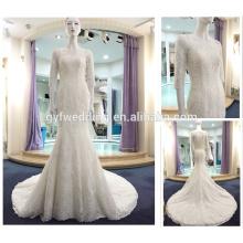 Best Design Off-Shoulder Long Sleeve Lace Appliqued Long Trian Button Back Bride Modern Wedding Dress 2016 Mermaid A280